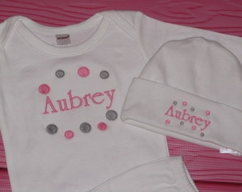 Personalized Baby Girl Gift Set bodysuit Gown with hat