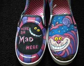 Disney Inspired Cheshire Cat Alice in Wonderland Women's Hand Painted Sneaker