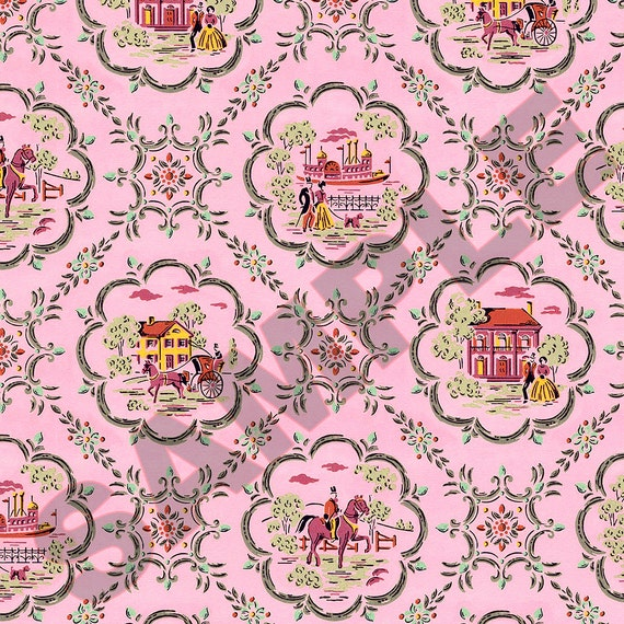 Printable Vintage Victorian Dollhouse Wallpaper Download 1:12