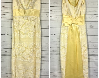Small 70's yellow lace maxi dress with yellow satin bow- vintage yellow prom dress small- 70's maxi dress small formal dress