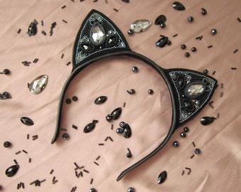 Black cat ears headband, black cat costume, black kitty ears, cat ears cosplay, cat ears black