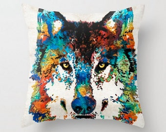 Throw Pillow COVER Wolf Art Design Home Sofa Bed Chair Decor Artsy Accent Wolves Wild Animal Cabin Nature Forest Bedroom Colorado Midwest