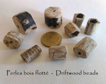One of a kind driftwood beads x 10 handmade, beach, France,