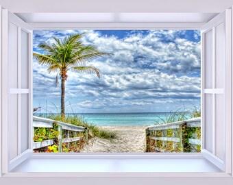 Tropical Beach Through The Open Window 8 x 10 Fine Art Print