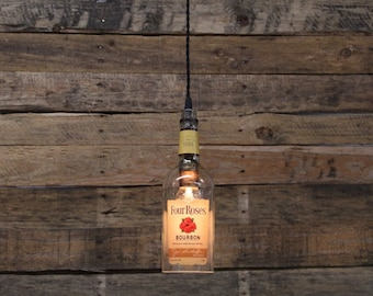 Four Roses Bottle Pendant Light - Upcycled Industrial Glass Ceiling Light - Handmade Bourbon Bottle Light Fixture, Recycled Lighting