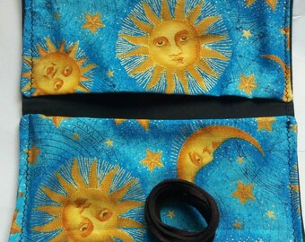 Handmade tobacco pouch, double sided. Stars&moon