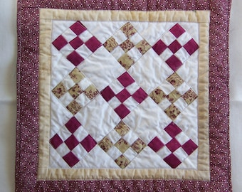 Coaster Mug Rug or Mini Nine Patch Quilt in Scrappy Rose and Red