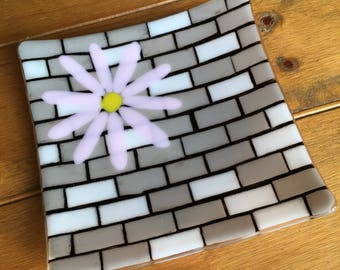 Daisy on a brick wall platter