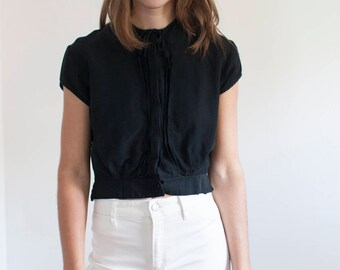 Black crop top - button down peasant top - S