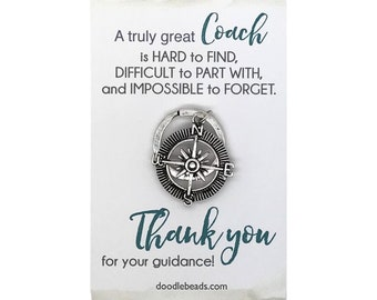 """Coach Gift, coaches gift, Silver Compass Key Ring, Coach Thank you, carded gift with message, A """"A Truly Great Coach is HARD to FIND..."""
