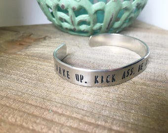 Wake Up Kick Ass Be Kind Repeat Bracelet Stackable Bracelet Empowerment Bracelet