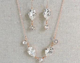 Swarovski Crystal Bridal Set, Faux Diamond Rose Gold Necklace, Delicate Clear Crystal Earrings, Crystal Teardrop Dainty Jewelry Set