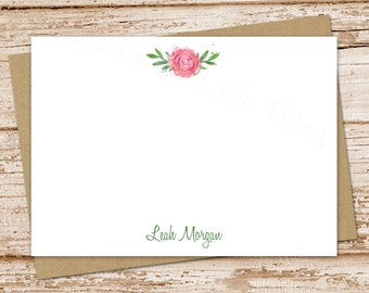 personalized rose note card set . watercolor rose notecards . womens personalized FLAT stationery . stationary flowers . set of 10