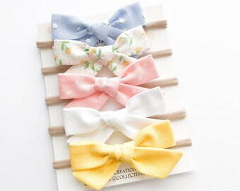 Baby Headbands - Baby Bows - Easter Bows - Easter Headbands - Baby Spring Bows -Nylon Headbands - Baby Bow Headband -Baby Bow Clip - Bow Set