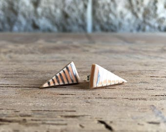 Porcelain Melon Long Triangle Studs with White Gold Luster Stripes