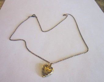 Vintage Gold Tone Chain Necklace with Puffy Heart Charm or Pendant