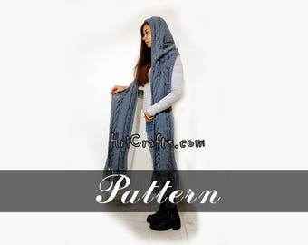 Knitting pattern hooded scarf Digital file knit hooded scarf pattern Hood Shawl Instant download Collar Knit winter scarf Knit wool scarf