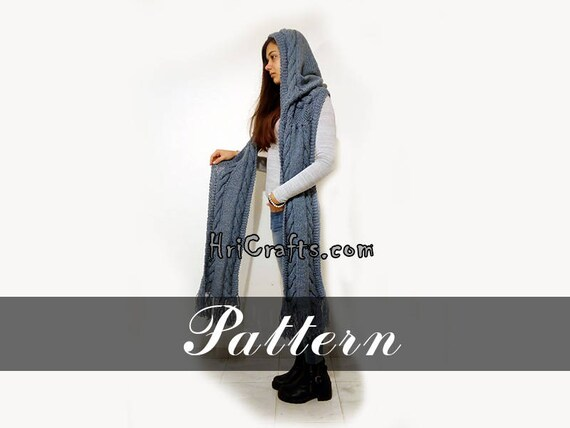 Knitting Pattern Hooded Scarf Digital File Knit Hooded Scarf