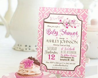 Shabby Chic Baby Shower Invitation - Personalized Printable DIGITAL FILE