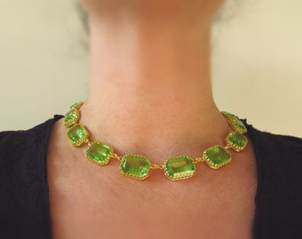 Bright Green Swarovski Crystal Necklace, Peridot Collet Necklace Green Anna Wintour Riviere Necklace Georgian Paste Regency jewelry  19th