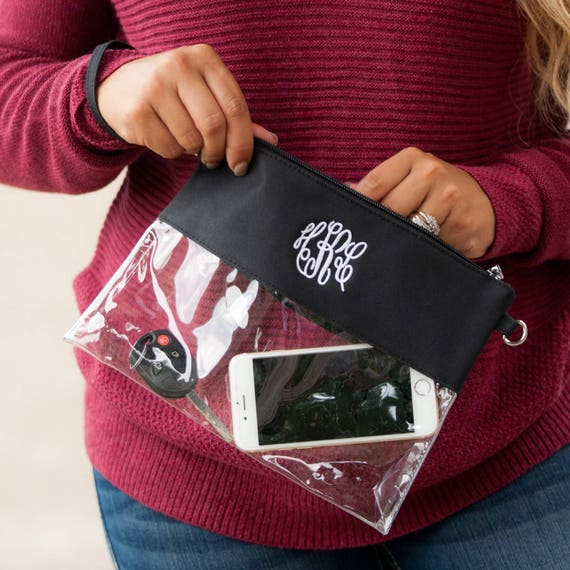 Clear Zip Pouch with Black Top Purse or Wristlet