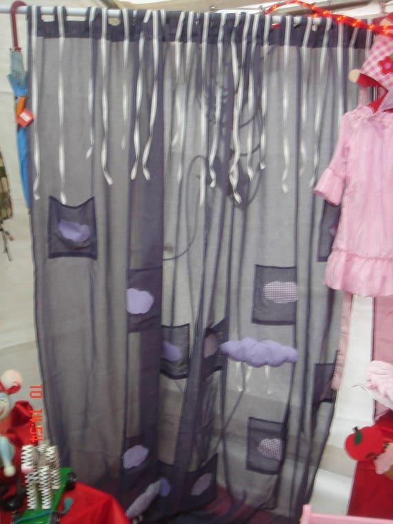 rideaux poches bleu gris. Black Bedroom Furniture Sets. Home Design Ideas