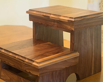 Wood Step Stool for kids in Butternut or Walnut Wood
