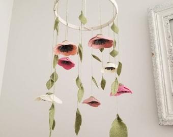 Felt Flower Crib Mobile, Whimsical Flower Mobile, Crib Mobile, Handmade