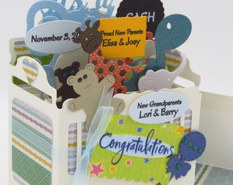 Custom Baby Explosion Box Card - Unique, Handmade for Boy or Girl - Custom, Personalized Baby Card In A Box - Welcome Baby - FREE SHIPPING