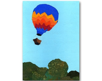 Hot Air Balloon - All Occasion Card or Print with a Free Mat -  Moving? Vacation?  Birthday Invitation - Child's Room Decor  (CMEM2013009)