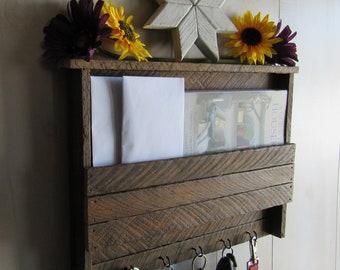 Reclaimed Wood Wall Art Key Holder- Mail Organizer- Rustic Wall Decor- Entryway Organizer- Farmhouse Decor- Dog Leash Holder- Home Decor