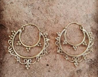 flower shaped boho brass earrings, gypsy earrings