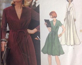Vogue Americana Designer Dress Sz 12 B34 Vtg 70s Pattern Jerry Silverman Designer Flared Skirt