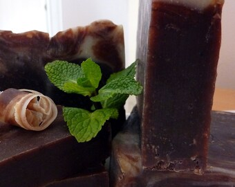 Mint Choc Queen Vic - mint chocolate handmade soap natural plus beautiful postcard