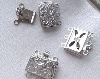 Embossed sterling silver lock clasp for necklace/bracelet. Multi strand.
