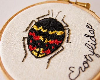 Embroidered Hoop Art Textile Art Pleasing Fungus Beetle Natural History Entomology Gift Nature Lover Wildlife Beetle Art Gift Home Decor