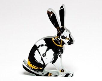 Steampunk Clockwork Hare Glass Sculpture