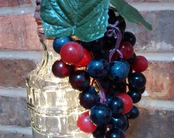 Lighted Wine Bottle with Grapes