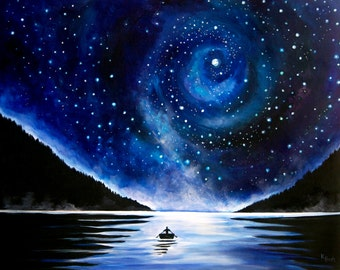Rowboat under the Stars Landscape Painting - Canvas Print
