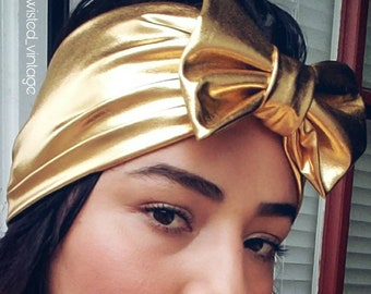 Metallic Gold Glam Bow Turband - oops sale