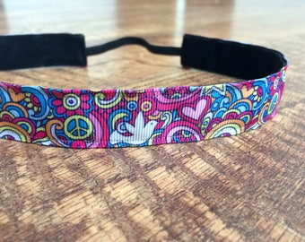 Rainbow headband. Peace headband, hippie headband, running headband, girls rainbow headband, women's rainbow headband, peace love rainbow