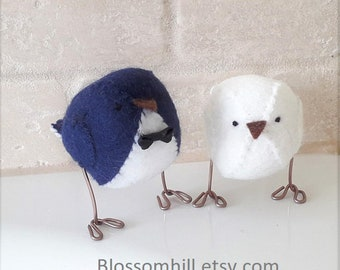 Wedding cake topper, birds in  dark navy blue and white