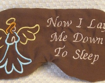 Embroidered Eye Mask, Sleep, Sleeping, Cute Sleep Mask, Kids or Adults, Blindfold, Slumber Mask, Eye Shade, Angel, Prayer Design, Handmade