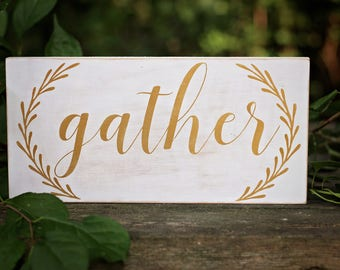 Wood Gather Sign, Fall Home Decor, Thanksgiving Decoration, Wooden Signs, Home Decoration,  Thanksgiving Decor, Gather Sign, Wood Sign