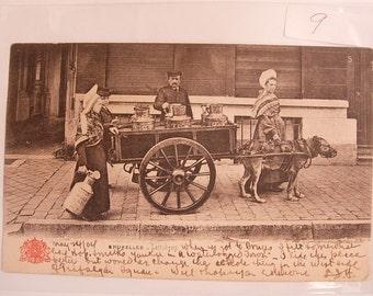 Ethnic people postcard Milk Cart with Ox Bruxelles Laitieres Grand Bazaar