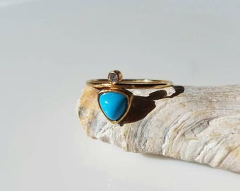 14k gold turquoise and diamond ring, size 6.5