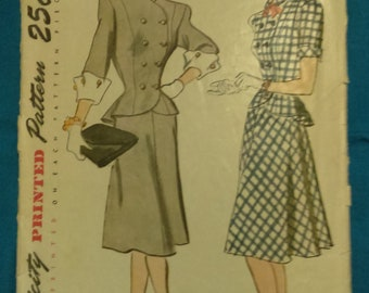 Vintage 1940's simplicity pattern 2-pc dress skirt jacket B31 W25 1/2