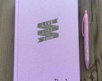 A5 cotton covered notebook, pink