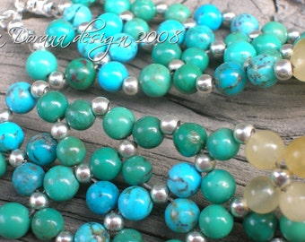 BLUE LAGOON Flower Weave Bracelet - Genuine Turquoise and Aragonite in Sterling Silver - Handmade by Dorana