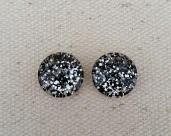 Obsidian Glitter Earrings, Titanium Posts, Glitter Studs, Gift Idea, Hypoallergenic Studs, Kids Studs, Bridesmaid Gift, Super Sparkly Studs